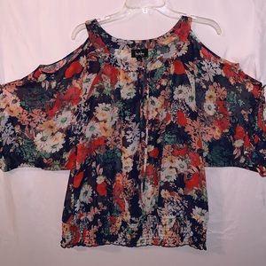 🔥 cold shoulder 3/4 sleeve keyhole top